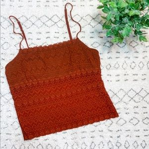 Cosabella Boho Strappy Lace Crop Bralette Top M